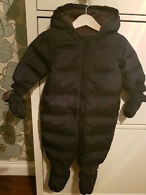 Baby GAP warm winter fleece lined down fill navy snowsuit 6-12 with mitts & feet