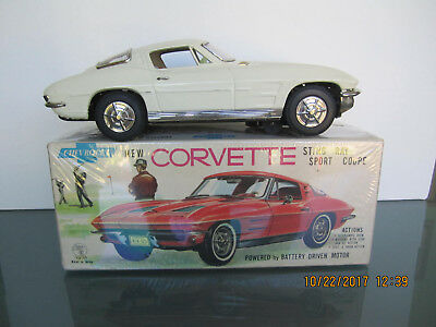 "Ichida 1963 Split-Window Corvette 12"" Japan Toy Car B/o With Orig Box No Reserve"