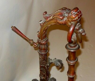 AMAZING Antique Bronze DRAGON Faux Bamboo SCONCE Wall Fixture Chinese Asian