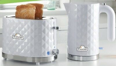 White Kettle And 2 Slice Toaster Set 3000W 1.5L Diamond Electric Fast Boil