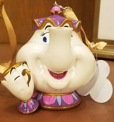 Disney Parks Mrs. Potts and Chip Figural Ornament Beauty and the Beast