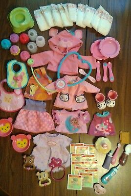AUTHENTIC Baby Alive Clothing and Accessories 57p Lot Magnetic Spoons Pacifier
