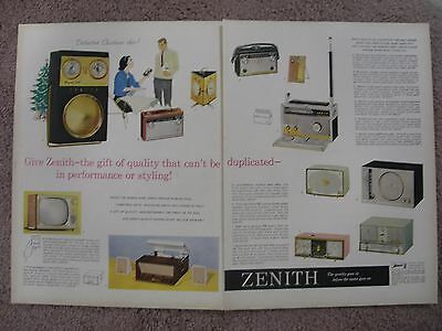 1959 Zenith Radio Large 2 Page Color Ad Free Shipping