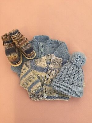 Hand Knitted Cardigans, Hat & Booties for Newborn Baby Boy
