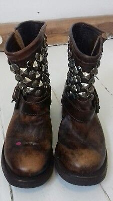 ASH womens brown leather studded mid calf boots 36 (slight damage on right boot)