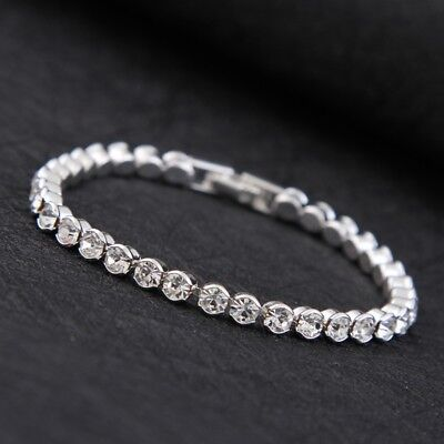 White or Gold Plated Wedding Tennis Charm Bridal Bracelet with Crystals Diamante