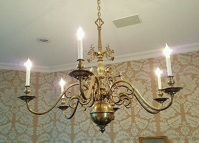 "MASSIVE Flemish or German Chandelier Solid Brass 47"" Across"