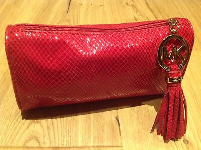 MICHAEL KORS Red Faux Snake Skin Cosmetic Case / Make Up Bag --- LIMITED EDITION