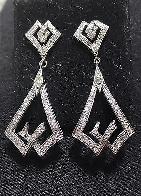 Vintage Art Deco 14K White Gold & Diamond Drop Earrings (Approx 1.75 Cts)