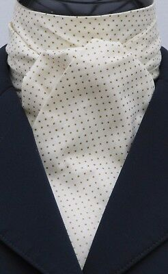 Self Tie Cream & Gold Pin Dot Cotton Dressage Riding Stock & Scrunchie - show