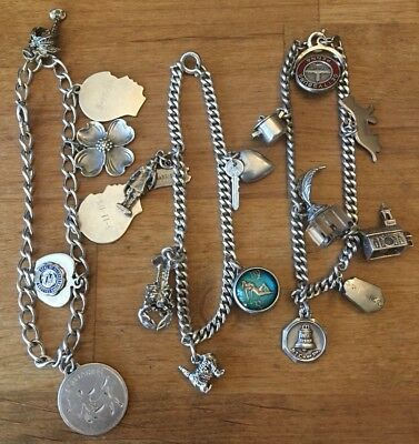 Lot of 3 Vintage STERLING SILVER Charm Bracelets with sterling charms ~59 Grams