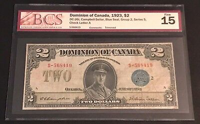 1923 Dominion of Canada $2.00, DC-26i, Blue Seal, BCS in F-15! C.V. $300.00