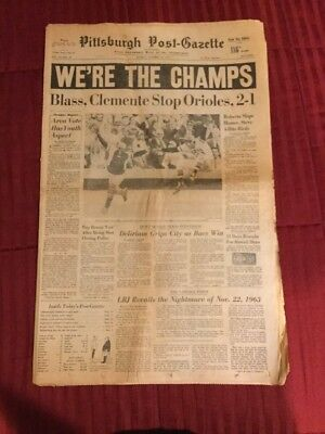 1971 World Series - Pirates Win - Baseball - Pittsburgh Newspaper
