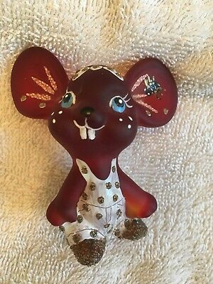 Fenton Art Glass Ruby Mouse In Overalls Handpainted By Marilyn Wagner NR