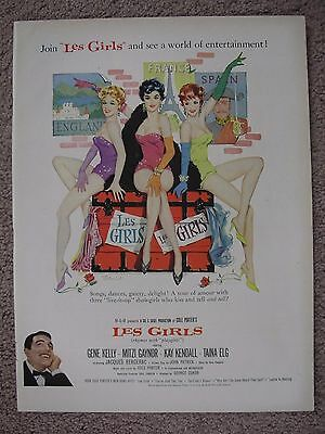 1957 Les Girls Large Full Page Color Ad For Movie Free Shipping