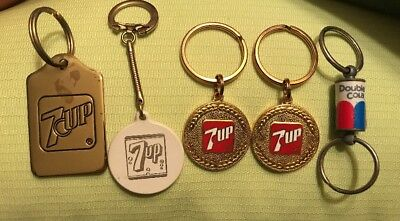 Lot of 5 Vintage 7up Key Chains Plus One Double Cola Collectible