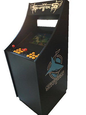 BRAND NEW Custom hand Made Sharks themed Arcade Cabinet with 6,949 games