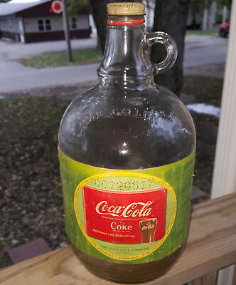 1950's 1 Gallon Coca-Cola Soda Fountain Syrup Bottle Jug W/ Cap & Label Duraglas