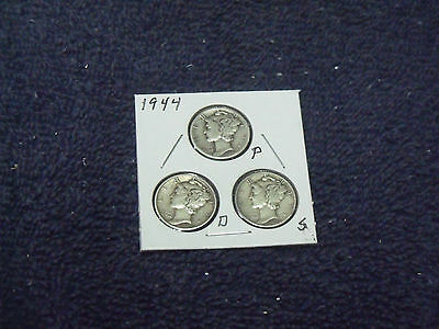 1944-P-D-S Mercury Dime Trio  average circulated