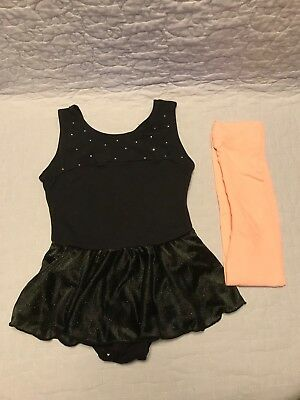 ~Pre-Owned~ Black Leotard with Skirt Size XS (4/5) & Pink Tights size XS(4/5)
