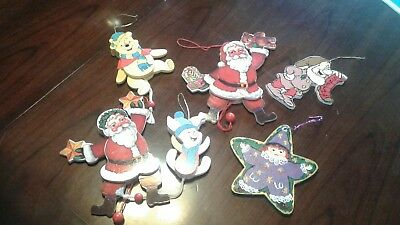 6 Wooden Moveable Vintage Christmas Tree Ornaments