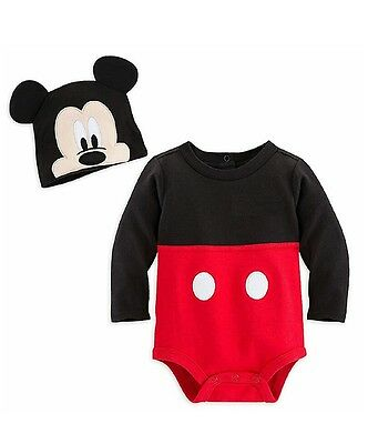 Disney Store Baby Boy Mickey Mouse Costume Outfit & Hat Bodysuit New Free Shipp
