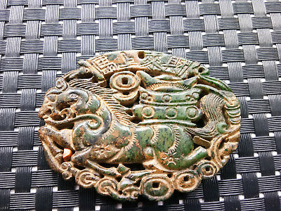 Natural Chinese black and green Xiuyu pendant necklace carved beast