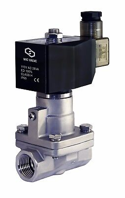 1/2 Inch High Pressure Stainless Steel Steam Solenoid Process Valve 110V AC PTFE