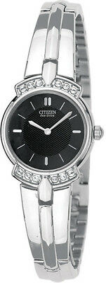 NEW Citizen Womens Eco-Drive Silhouette Crystal Stainless Steel Watch EW9010-54E