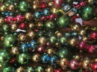 """Vintage Christmas Mercury Glass Beads Garland Multi Color 124"""" Made In Japan"""