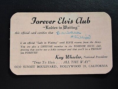 Vintage 1957 Elvis Presley Fan Club Membership Card - Original