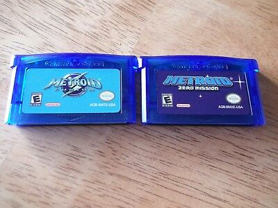 Metroid Zero Mission and Metroid Fusion Nintendo Gameboy Advance GBA! Clearshell