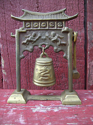 Vintage Miniature brass Asian temple bell/ With Brass Mallet./COOL SOUNDING RING