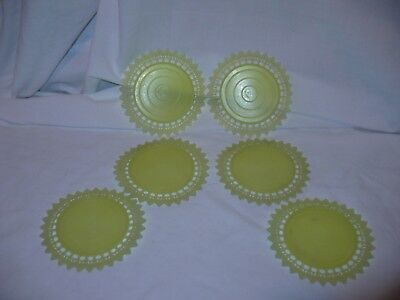Yellow Vintage PLASTIC LACE Coasters Set of 6 Doilies