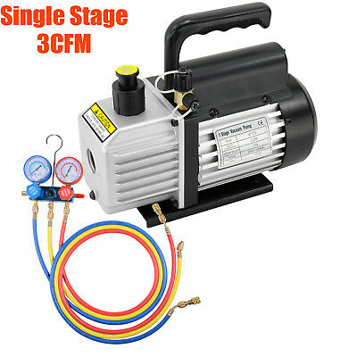 3CFM 1-Stage Refrigerant Vacuum Pump Refrigeration Gauges A/C Air Conditioning