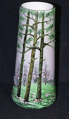1920s Legras Pastel Lavender Sky Fall Forest Scene Tapered Case Glass Vase FS