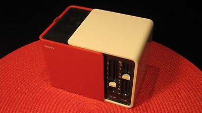 Rare Vintage Sony Cube Am Transistor Radio Model Tr-1825 Red And White - Works !