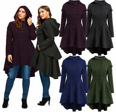 Women Fashion Solid Color Long Sleeve Layered Lace Up High Low Hooded Coat bd9608150