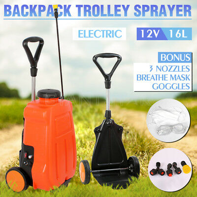 16L/12V Portable Electric Sprayer Backpack Trolley Tank Garden Weed Spot Spray