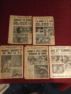 1965 World Series - Dodgers Vs. Twins - Baseball -5 New York Newspapers - Plus