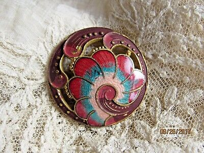 Antique enamel brass button flowers red champleve old vintage buttons sewing