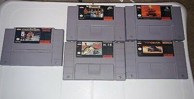 Super Nintendo SNES Game lot x5 Rumble, top gear, black bass &