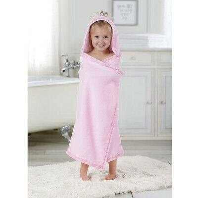ca67508dddf5 MUD PIE E7 Baby Girl Bath or Beach Pink Princess Crown Hooded Towel ...