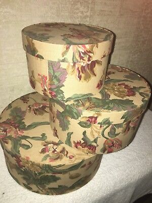 *** Vintage Mexican Nesting Hat Box, Floral Fabric design (3) boxes Trend Frames