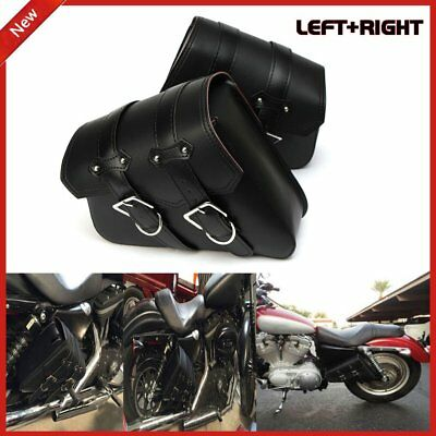 Black Motorcycle Left+Right Side SWING ARM BAG FOR HARLEY Softail Fatboy I