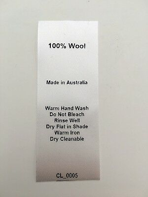 CL_0005 Care/Wash Instruction Clothing Labels - 100% Wool