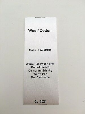 CL_0021 Care/Wash Instruction Clothing Labels - Wool/Cotton