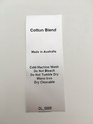 CL_0009 Care/Wash Instruction Clothing Labels - Cotton Blend