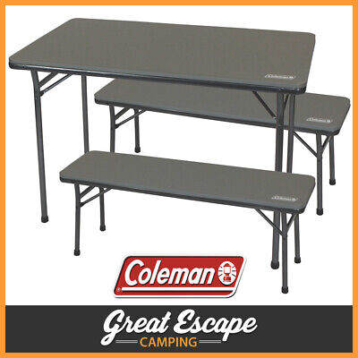 Coleman Folding Table And Bench Set 3 Piece Camping Picnic Set