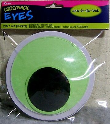 Darice Stickyback Giant Craft 6-in Adhesive Glow-in-the-Dark Wiggle Eyes - 2 Pcs